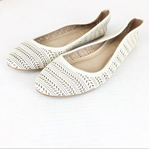 SZ 7.5 Aldo Perforated Beige Flats